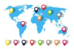 Free Map World With Pin Location. Globe Icon With Pointer. Perspective Travel In Asia, Australia, Africa, Europe. Blue Earth With Gps Royalty Free Stock Photos - 191035558