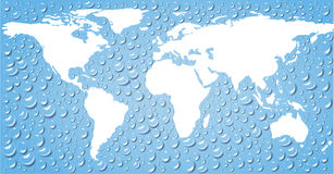 Map world and  world ocean. Map of the world and the world ocean, the ocean is depicted in the form of drops of water Royalty Free Stock Images