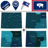 Map of Wyoming with Regions Stock Photography