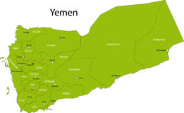 Map of Yemen. Yemen map designed in illustration with the regions colored in green and with the main cities royalty free illustration