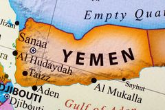Map of Yemen. The capital city of Yemen is Sanaa royalty free illustration