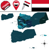 Map of Yemen with Governorates Stock Photography