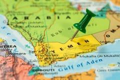 Map of Yemen with a green pushpin stuck Royalty Free Stock Photo