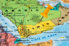 Map of Yemen with a orange pushpin stuck Royalty Free Stock Images