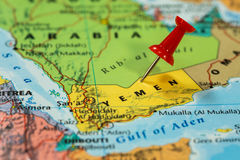 Map of  Yemen with a red pushpin stuck Stock Images