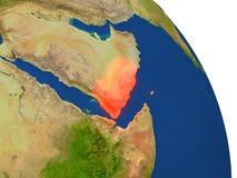 Map of Yemen in red Stock Photos