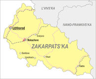 Map of Zakarpattia Oblast (Transcarpatia) Royalty Free Stock Image