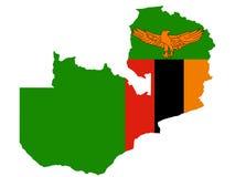 Map of Zambia. And Zambian flag illustration Royalty Free Stock Photos