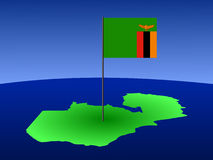 Map of Zambia with flag Royalty Free Stock Images