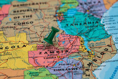 Map of Zambia with a green pushpin stuck Royalty Free Stock Photo