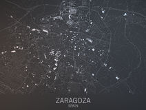 Map of Zaragoza, Saragossa, Spain. Map of Zaragoza, Saragossa, satellite view, city, Spain. 3d rendering Royalty Free Stock Images