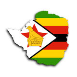 Map of Zimbabwe. Filled with the national flag Stock Image