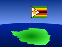 Map of Zimbabwe with flag Royalty Free Stock Photos