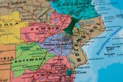 Map of Zimbabwe with a green pushpin stuck Royalty Free Stock Photography