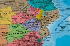 Map of Zimbabwe with a yellow pushpin stuck Royalty Free Stock Image