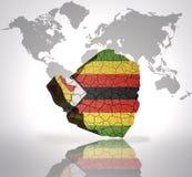 Map of  zimbabwe. With zimbabwean Flag on a world map background Royalty Free Stock Photography