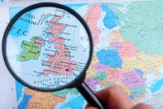 Map and Zoom Lens, England. A Map and Zoom Lens, England royalty free stock photo