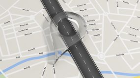 Map with zoom on road Royalty Free Stock Images