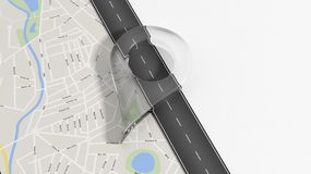 Map with zoom on road with big glass pointer Royalty Free Stock Image