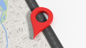 Map with zoom on road with big red pointer Stock Photo
