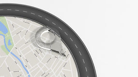 Map with zoom on road with turn and big glass pointer. On white with copy-space Stock Photo