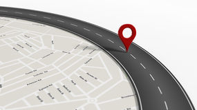 Map with zoom on road with turn and big red pointer. On white background Stock Photography