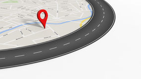 Map with zoom on road with turn and big red pointer. On white with copy-space Royalty Free Stock Images