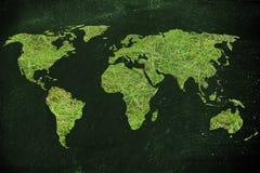 Mapa świat robić zielona trawa, pojęcie ekologia i gre, Zdjęcia Stock