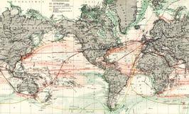 Mapa 1875 antigo de correntes de oceano do mundo Fotografia de Stock