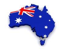 mapa 3d de Austrália Fotos de Stock