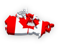 mapa 3d de Canadá Imagens de Stock Royalty Free