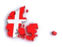 mapa 3d de Dinamarca Imagem de Stock Royalty Free