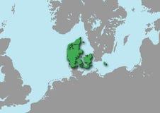 mapa 3d de Dinamarca Fotografia de Stock Royalty Free