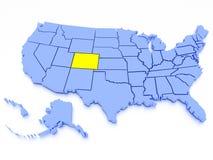 mapa 3D de Estados Unidos - estado Colorado Foto de Stock