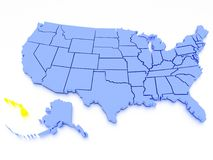 mapa 3D de Estados Unidos - estado Havaí Imagem de Stock