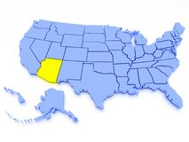 mapa 3D de Estados Unidos - estado o Arizona fotos de stock