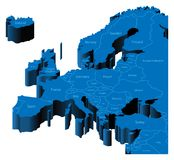 mapa 3d de Europa ilustração stock