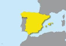 mapa 3d de Spain Imagem de Stock