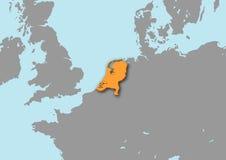 mapa 3d dos Países Baixos ilustração do vetor