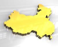mapa 3d dourado da porcelana Fotografia de Stock Royalty Free