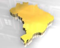 mapa 3d dourado de Brasil Imagens de Stock Royalty Free