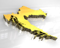 mapa 3d dourado de croatia Imagem de Stock Royalty Free