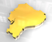 mapa 3d dourado de Equador ilustração do vetor