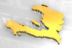 mapa 3d dourado de Haiti Foto de Stock