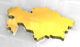 mapa 3d dourado de khazakstan Fotos de Stock