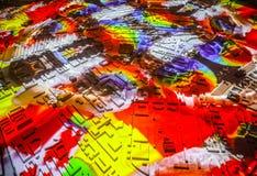 Mapa abstracto colorido de la ciudad de Amsterdam en perspectiva Imagenes de archivo