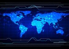 Mapa abstracto con el fondo de la tecnología de la malla vecto del ejemplo Imagenes de archivo