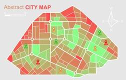 Mapa abstracto de la ciudad con los marcadores de la ubicación aislados en el fondo blanco Vector stock de ilustración