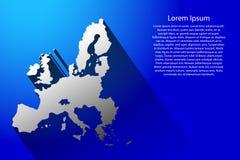 Mapa abstracto de la unión europea con la sombra larga en el ejemplo azul del fondo libre illustration