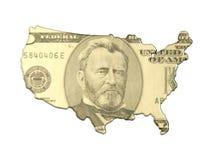 Mapa abstrato com dinheiro Imagem de Stock
